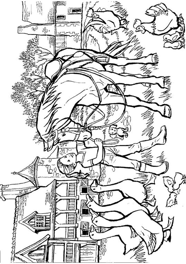 On the farm (1) coloring page