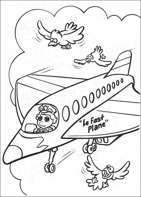 Malvorlagen Piggy als pilot ausmalbilder