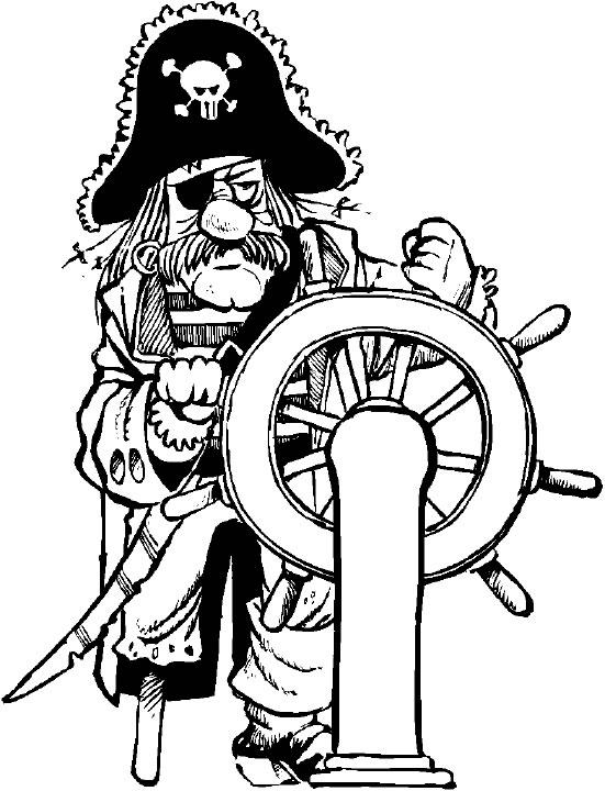 Piraat aan het roer kleurplaat