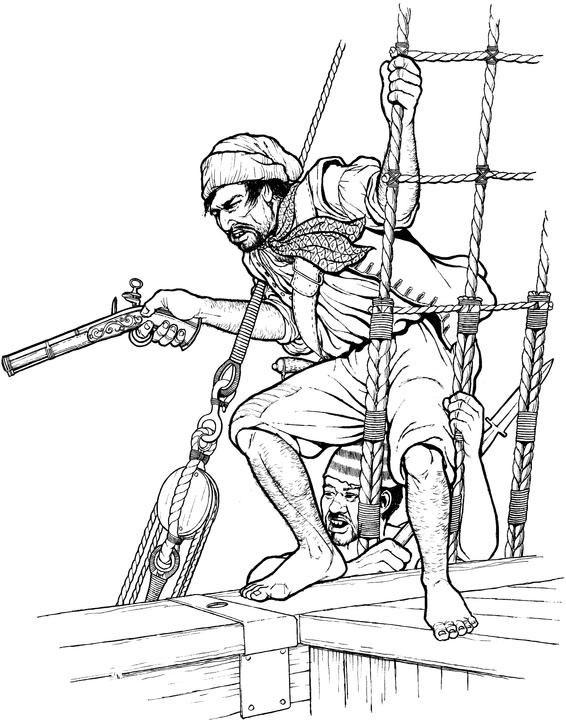 Piraat in het want (1) kleurplaat