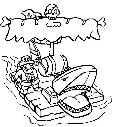 Piraat op zelfgebouwd vlot kleurplaat