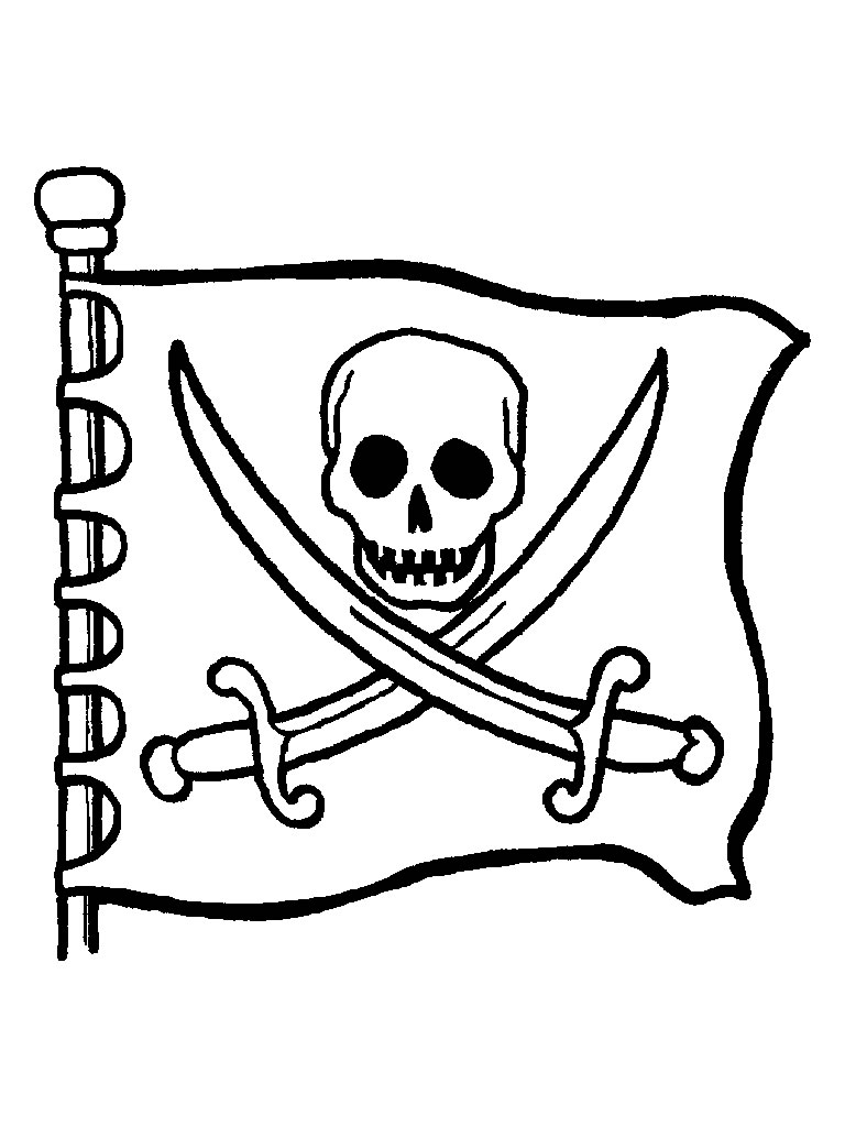 Piraten vlag met doodshoofd kleurplaat