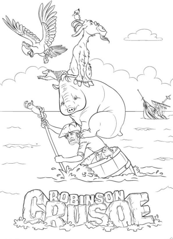 Robinson Crusoe 3D målarbok