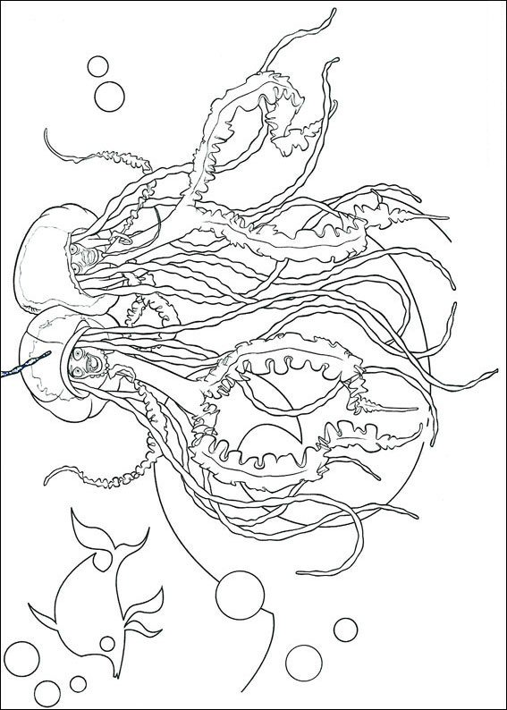 SharktaleErnie and Bernie, the jellyfish coloring page