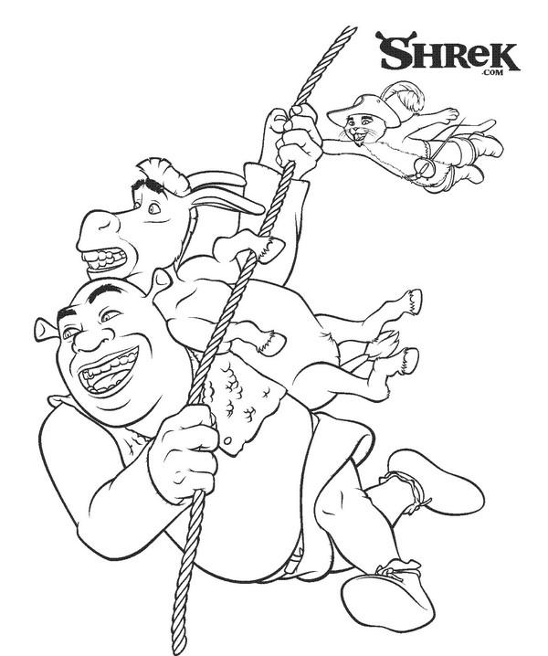 Shrek, Ezel en de gelaarsde kat kleurplaat