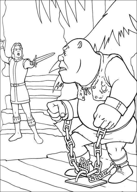 Shrek gevangen op het toneel kleurplaat