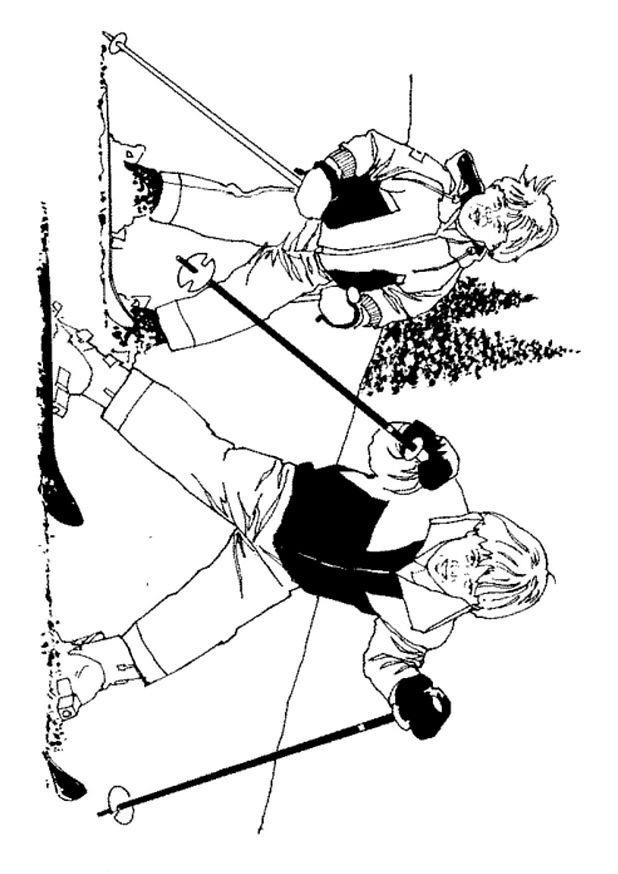 Skidåkning (2) målarbok