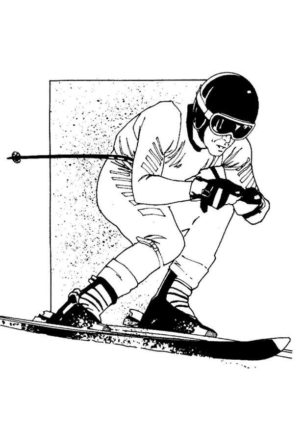 Skieen kleurplaat