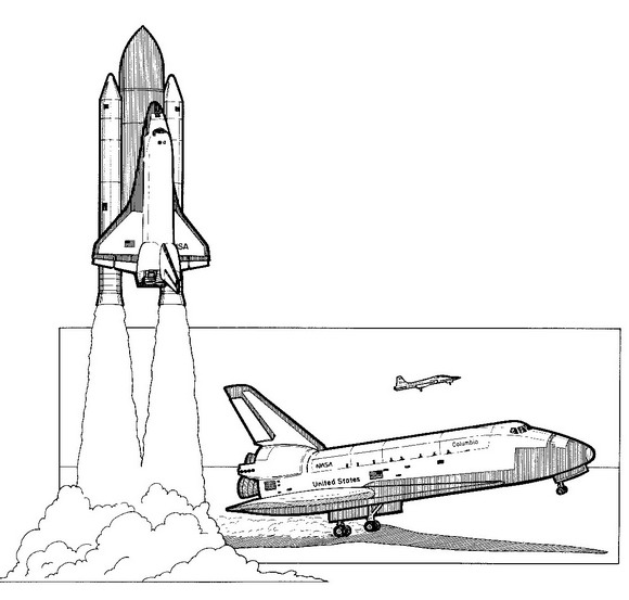 Space shuttle, 1981 coloring page