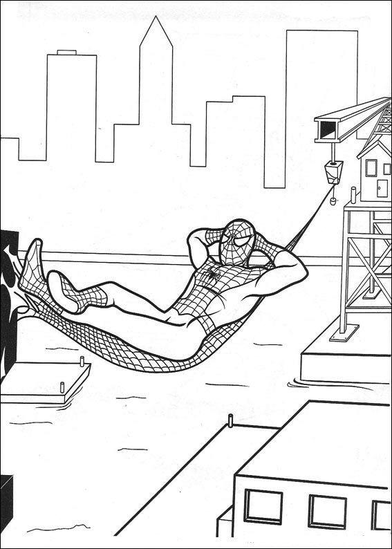 Spiderman rust uit kleurplaat