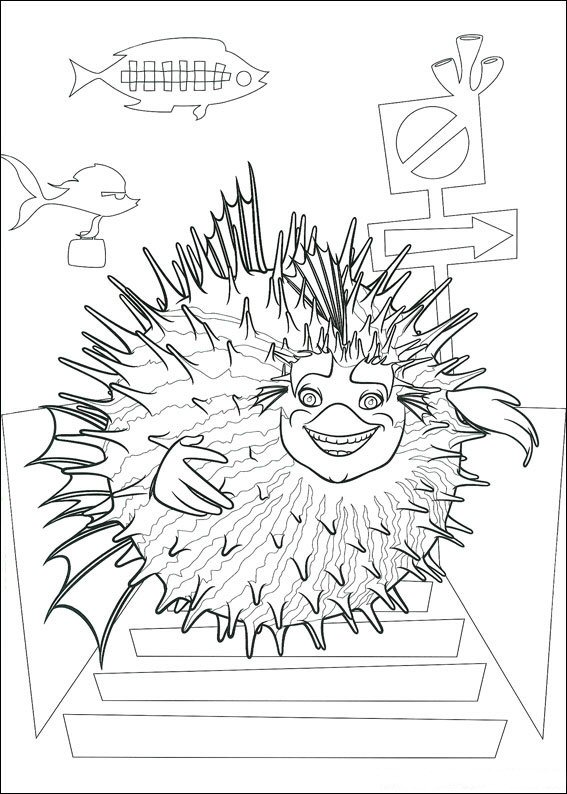 Sykes the hedgehog fish coloring page