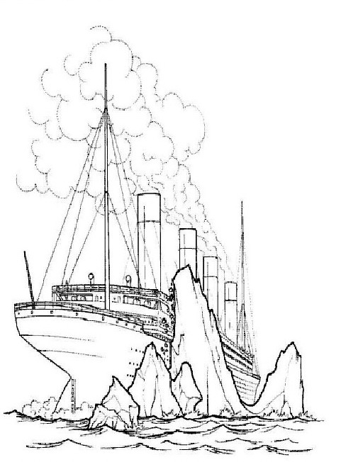 Titanic sails on an iceberg coloring page