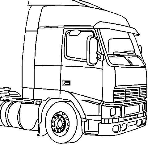 Truck cabine kleurplaat