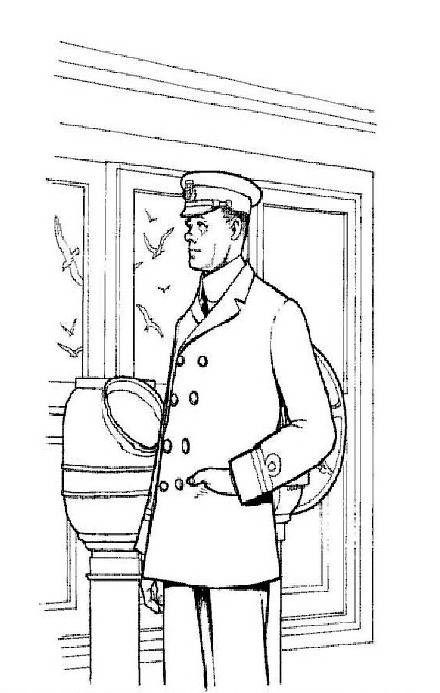 Second mate Lightoller, surviving coloring page
