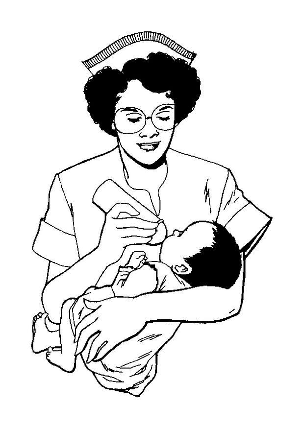 Раскраска Медсестра дает ребенку бутылочку