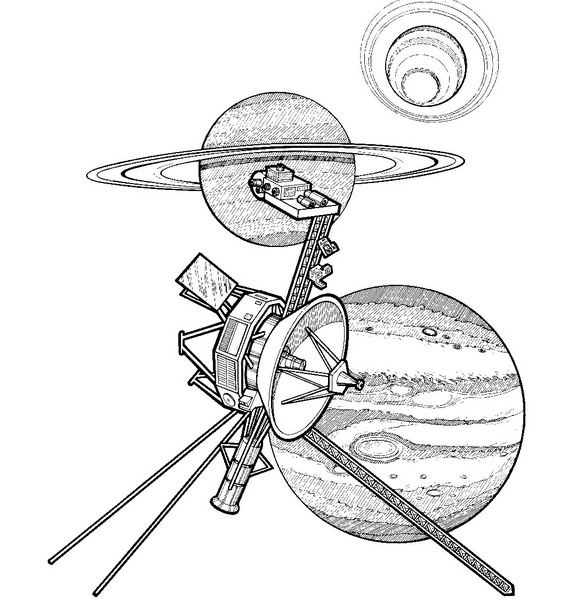 Раскраска Вояджер 1, 1977