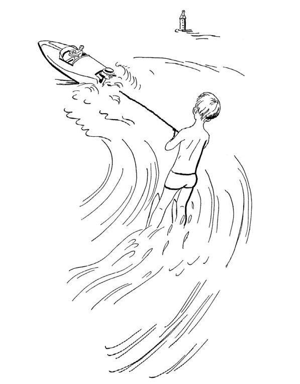 Vattenskidåkning (1) målarbok
