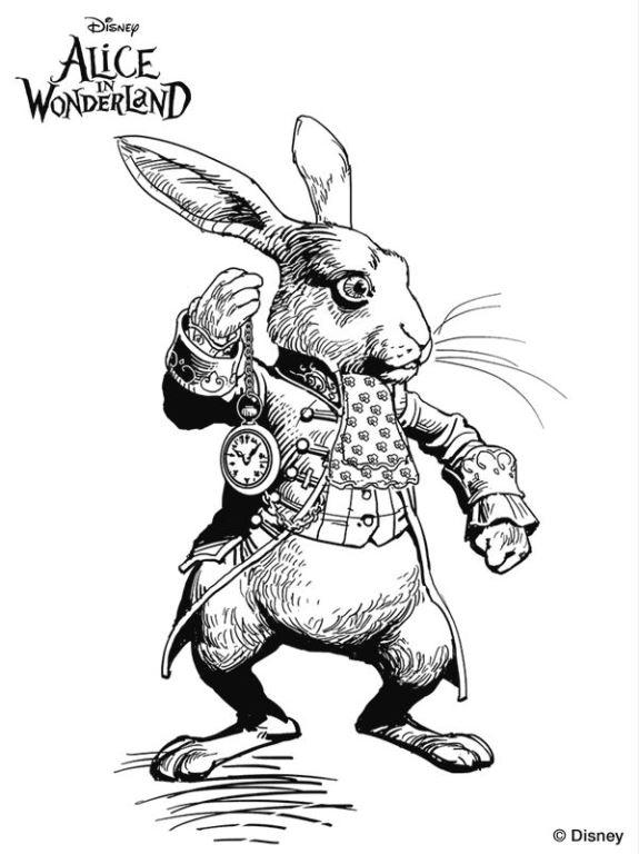 white rabbit kleurplaat