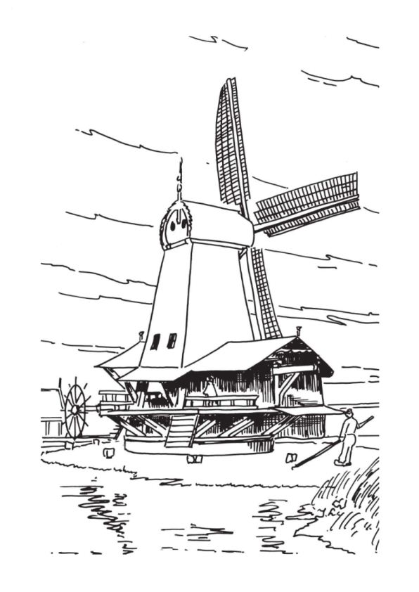 Windmills coloring page