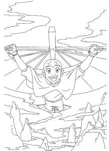 kleurplaat Aang aan het hanggliden