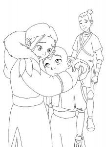 kleurplaat Aang, Katara en Sokka