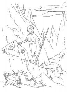 kleurplaat Aang op avontuur
