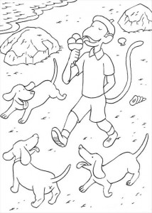 coloring page Monkey eating ice cream