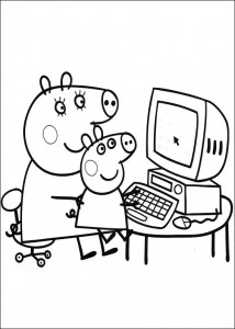 coloring page Behind the computer