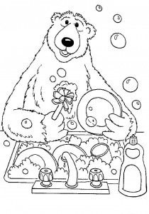 coloring page Washing dishes