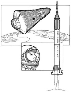 målarbok Alan Shepard, första amerikan, 1961