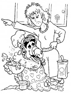 coloring page Alf baking