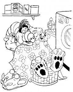 coloring page Alf is sleeping in laundry basket