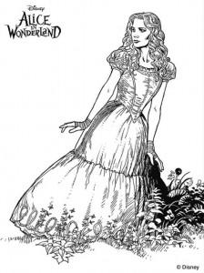 coloring page alice i eventyrland (9)