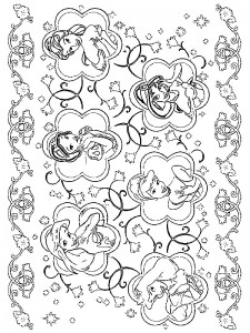 coloring page Alle Disney-prinsesser