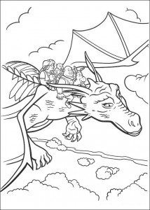 kleurplaat Allemaal op de draak