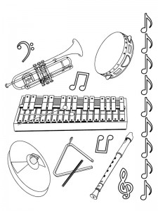 coloring page All kinds of musical instruments