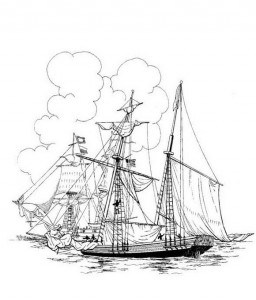 coloring page American navy attacks Amistad