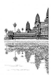 kleurplaat Angkor Wat, Hindoe Tempel (deel 1)