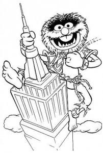 kleurplaat Animal als King Kong (1)