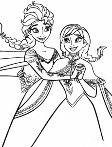coloring page anna elsa