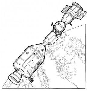 kleurplaat Apllo 18 en Soyuz 19 koppelen, 1975