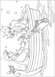 coloring page Ariel and Eric rowing (1)