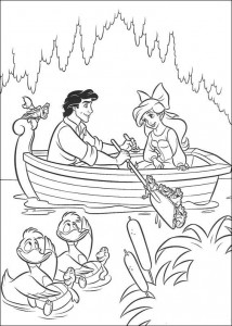 coloring page Ariel and Eric rowing