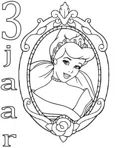 kleurplaat Assepoester 3 jaar
