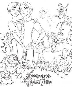 kleurplaat Assepoester en de Keukenprins (1)