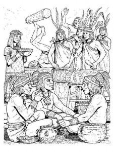 kleurplaat Azteken (2)