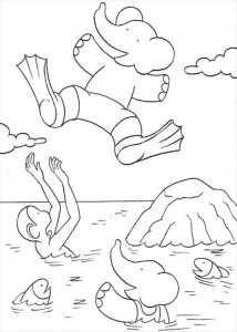 coloring page Babar doing bomb