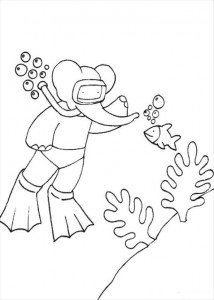 coloring page Babar snorkels