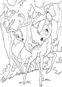 kleurplaat Bambi en zijn vader (1)