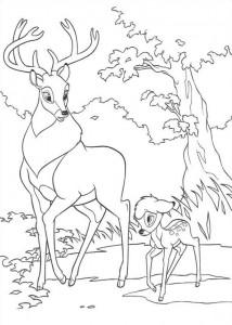 kleurplaat Bambi en zijn vader (3)